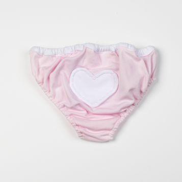 costume in jersey rosa con cuore bianco