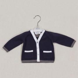 cardigan bimbo in cotone navy con bordi bianco/grigi
