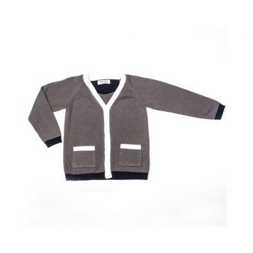 grey cotton boy cardigan with white/grey borders