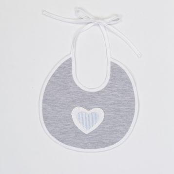 bavaglia in jersey grigio melange con cuore in lino bianco e righe celesti