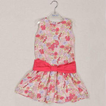 vestito stampato azalea con fiocco in voile azalea