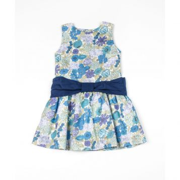 ocean printed dress with navy voile ribbon