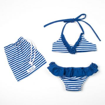 bikini in jersey a righe bluette con rouche bluette