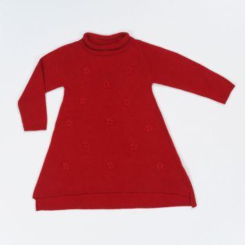 vestito in lana/cashmere rosso con fiori ricamati rossi