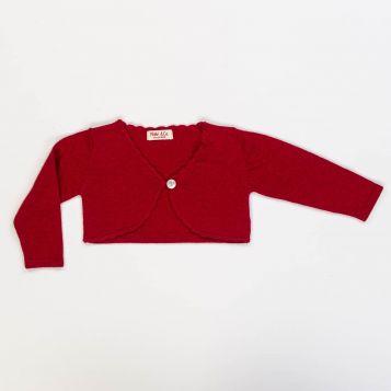 bolero in lana/cashmere rosso con cappe in crochet