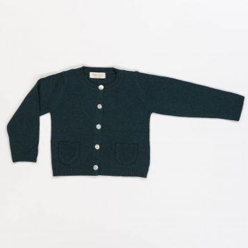 cardigan in lana/cashmere verde con taschine