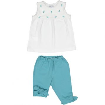 t-shirt in jersey bianco con fiori oceano + leggings in jersey oceano