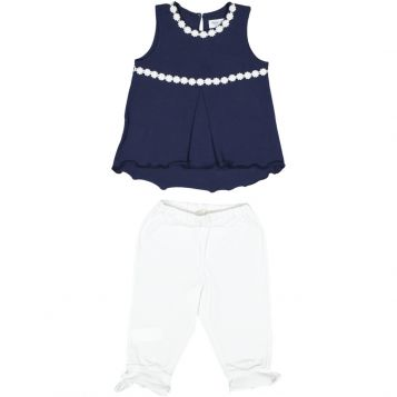 navy jersey sleeveless t-shirt with white flowers + white jersey leggings