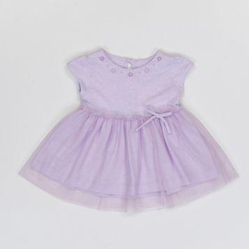 vestito ricamato in jersey lilla melange e tulle