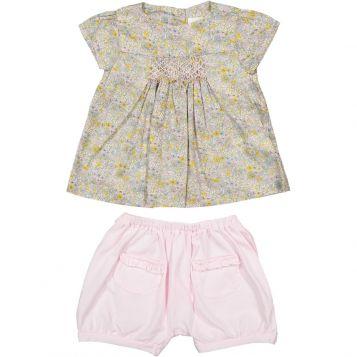 camicia fiorellini rosa/grigi + shorts in jersey rosa