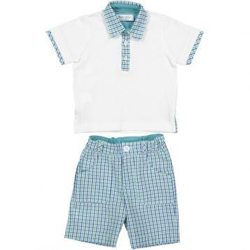 polo bimbo in jersey bianco con colletto a quadretti oceano/navy + bermuda bimbo a quadretti oceano/navy
