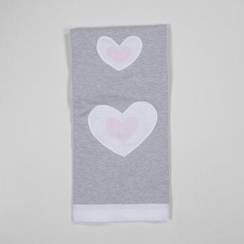 grey melange fleece blanket with white linen borders and pink stripy hearts