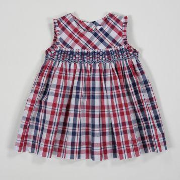 vestito in cotone scozzese navy/rosso con smock