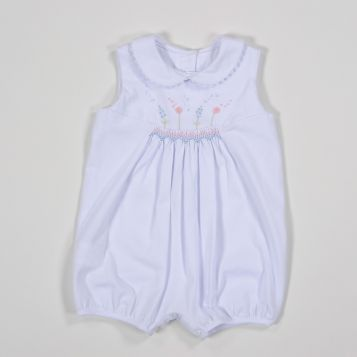 white jersey sleeveless romper with pastel tones smock and flowers