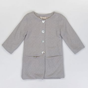 cappotto lana bouclè grigio/navy con interno grigio/beige