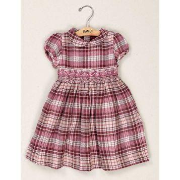 vestito in garzina di lana scozzese rosa con smock