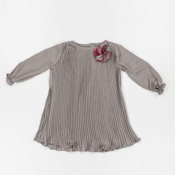 vestito chiffon crepe grigio con plissè
