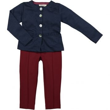 navy interlock piquet jacket + ruby Milano jersey leggings