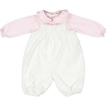 polo bimba in jersey rosa + pagliacetto millerighe panna con smock