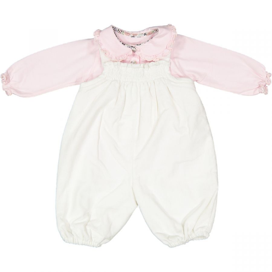 pink jersey girl polo + creamy white curduroy romper with smock