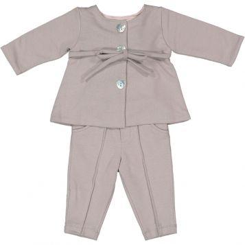 giacca felpa grigio unito + leggings felpa grigio unito