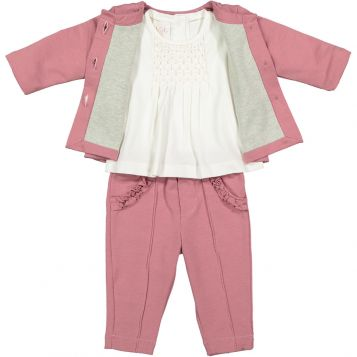 dark pink fleece jacket + creamy white jersey t-shirt with pink smock + dark pink fleece trousers