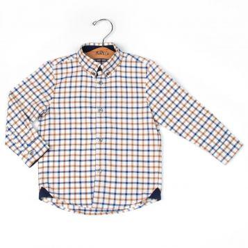 camicia bambino a quadretti beige/marroni