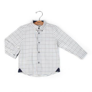 check beige/navy boy shirt