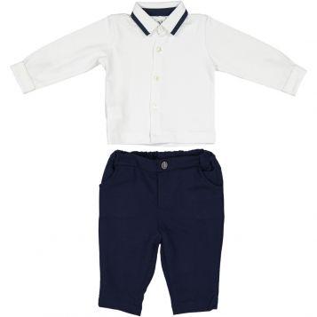 white jersey boy shirt with navy poplin finishings e navy fleece boy trousers