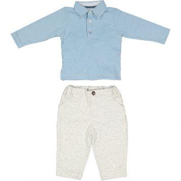 polo bimbo in jersey celeste + pantaloni bimbo in felpa grigio chiaro