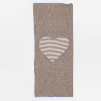 coperta lana/cashmere nocciola con cuore righe beige/nocciola e profili celesti