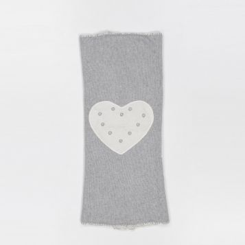 coperta lana/cashmere grigia cuore panna
