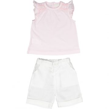 t-shirt in jersey rosa con ricamo rosa + panta lino bianco