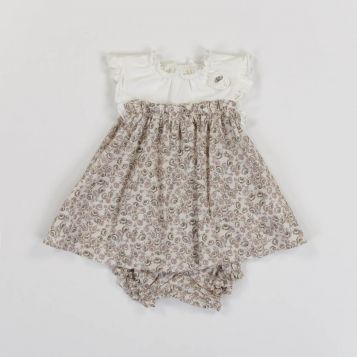 dress - creamy white jersey top and ecru printed skirt