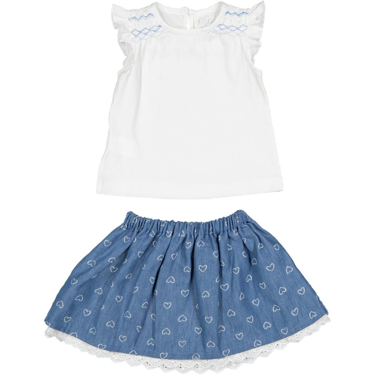 Cuori Denim Shirt A In Bianco Smock CelesteGonna T Con Jersey n0ONwmv8